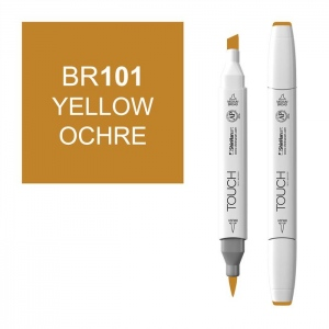 ShinHan Art TOUCH Twin Brush Yellow Ochre Marker: White, Brown, Double-Ended, Alcohol-Based, Refillable, Dual, (model 1210101-BR101), price per each