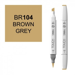 ShinHan Art TOUCH Twin Brush Brown Grey Marker; Barrel Color: White; Color: Brown; Double-Ended: Yes; Ink Type: Alcohol-Based; Refillable: Yes; Tip Type: Dual; (model 1210104-BR104), price per each