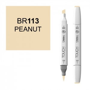 ShinHan Art TOUCH Twin Brush Peanut Marker; Barrel Color: White; Color: Brown; Double-Ended: Yes; Ink Type: Alcohol-Based; Refillable: Yes; Tip Type: Dual; (model 1210113-BR113), price per each