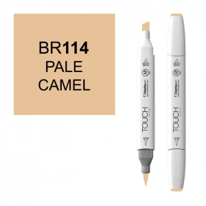 ShinHan Art TOUCH Twin Brush Pale Camel Marker; Barrel Color: White; Color: Brown; Double-Ended: Yes; Ink Type: Alcohol-Based; Refillable: Yes; Tip Type: Dual; (model 1210114-BR114), price per each