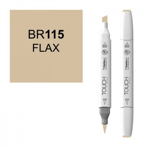 ShinHan Art TOUCH Twin Brush Flax Marker; Barrel Color: White; Color: Brown; Double-Ended: Yes; Ink Type: Alcohol-Based; Refillable: Yes; Tip Type: Dual; (model 1210115-BR115), price per each