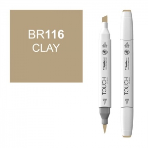 ShinHan Art TOUCH Twin Brush Clay Marker: White, Brown, Double-Ended, Alcohol-Based, Refillable, Dual, (model 1210116-BR116), price per each