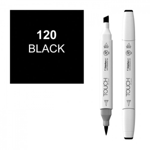 ShinHan Art TOUCH Twin Brush Black Marker; Barrel Color: White; Color: Black/Gray; Double-Ended: Yes; Ink Type: Alcohol-Based; Refillable: Yes; Tip Type: Dual; (model 1210120-120), price per each