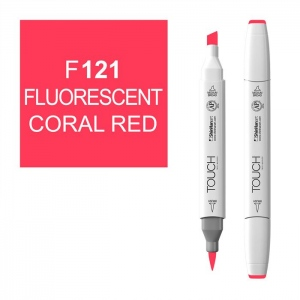 ShinHan Art TOUCH Twin Brush Fluorescent Coral Red Marker; Barrel Color: White; Color: Red/Pink; Double-Ended: Yes; Ink Type: Alcohol-Based; Refillable: Yes; Tip Type: Dual; (model 1210121-F121), price per each
