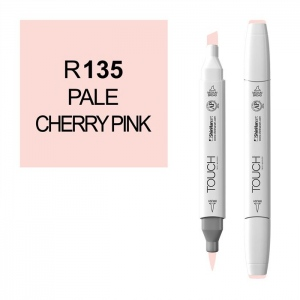 ShinHan Art TOUCH Twin Brush Pale Cherry Pink Marker: White, Red/Pink, Double-Ended, Alcohol-Based, Refillable, Dual, (model 1210135-R135), price per each