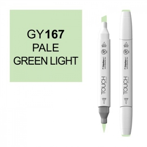 ShinHan Art TOUCH Twin Brush Pale Green Light Marker; Barrel Color: White; Color: Green; Double-Ended: Yes; Ink Type: Alcohol-Based; Refillable: Yes; Tip Type: Dual; (model 1210167-GY167), price per each