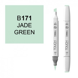 ShinHan Art TOUCH Twin Brush Jade Green Marker: White, Green, Double-Ended, Alcohol-Based, Refillable, Dual, (model 1210171-B171), price per each