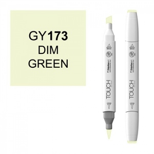 ShinHan Art TOUCH Twin Brush Dim Green Marker: White, Green, Double-Ended, Alcohol-Based, Refillable, Dual, (model 1210173-GY173), price per each