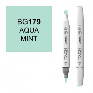 ShinHan Art TOUCH Twin Brush Aqua Mint Marker: White, Blue, Double-Ended, Alcohol-Based, Refillable, Dual, (model 1210179-BG179), price per each