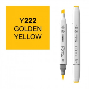 ShinHan Art TOUCH Twin Brush Golden Yellow Marker: White, Yellow, Double-Ended, Alcohol-Based, Refillable, Dual, (model 1210222-Y222), price per each