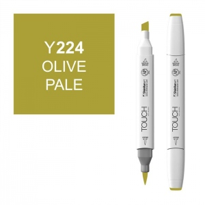 ShinHan Art TOUCH Twin Brush Olive Pale Marker; Barrel Color: White; Color: Green; Double-Ended: Yes; Ink Type: Alcohol-Based; Refillable: Yes; Tip Type: Dual; (model 1210224-Y224), price per each
