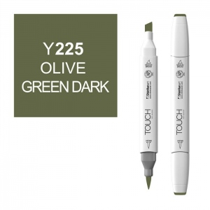 ShinHan Art TOUCH Twin Brush Olive Green Dark Marker; Barrel Color: White; Color: Green; Double-Ended: Yes; Ink Type: Alcohol-Based; Refillable: Yes; Tip Type: Dual; (model 1210225-Y225), price per each