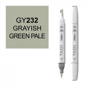 ShinHan Art TOUCH Twin Brush Grayish Green Pale Marker: White, Green, Double-Ended, Alcohol-Based, Refillable, Dual, (model 1210232-GY232), price per each