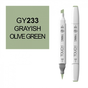 ShinHan Art TOUCH Twin Brush Grayish Olive Green Marker; Barrel Color: White; Color: Green; Double-Ended: Yes; Ink Type: Alcohol-Based; Refillable: Yes; Tip Type: Dual; (model 1210233-GY233), price per each