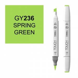 ShinHan Art TOUCH Twin Brush Spring Green Marker; Barrel Color: White; Color: Green; Double-Ended: Yes; Ink Type: Alcohol-Based; Refillable: Yes; Tip Type: Dual; (model 1210236-GY236), price per each