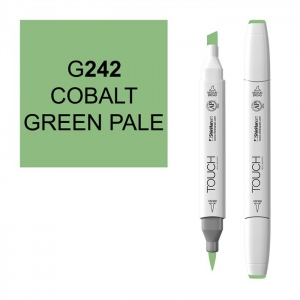 ShinHan Art TOUCH Twin Brush Cobalt Green Pale Marker: White, Green, Double-Ended, Alcohol-Based, Refillable, Dual, (model 1210242-G242), price per each