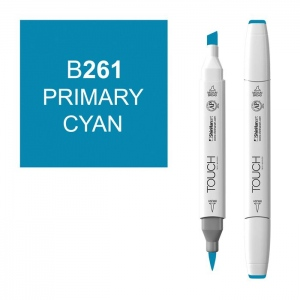 ShinHan Art TOUCH Twin Brush Primary Cyan Marker; Barrel Color: White; Color: Blue; Double-Ended: Yes; Ink Type: Alcohol-Based; Refillable: Yes; Tip Type: Dual; (model 1210261-B261), price per each
