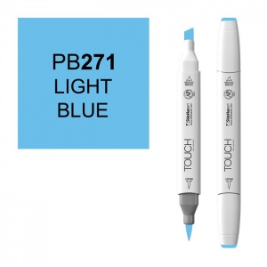 ShinHan Art TOUCH Twin Brush Light Blue Marker; Barrel Color: White; Color: Blue; Double-Ended: Yes; Ink Type: Alcohol-Based; Refillable: Yes; Tip Type: Dual; (model 1210271-PB271), price per each