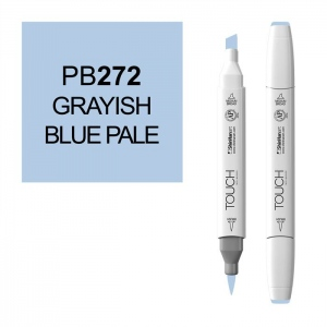 ShinHan Art TOUCH Twin Brush Grayish Blue Pale Marker; Barrel Color: White; Color: Blue; Double-Ended: Yes; Ink Type: Alcohol-Based; Refillable: Yes; Tip Type: Dual; (model 1210272-PB272), price per each