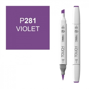 ShinHan Art TOUCH Twin Brush Violet Marker; Barrel Color: White; Color: Purple; Double-Ended: Yes; Ink Type: Alcohol-Based; Refillable: Yes; Tip Type: Dual; (model 1210281-P281), price per each