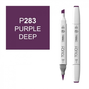 ShinHan Art TOUCH Twin Brush Purple Deep Marker; Barrel Color: White; Color: Purple; Double-Ended: Yes; Ink Type: Alcohol-Based; Refillable: Yes; Tip Type: Dual; (model 1210283-P283), price per each