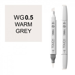 ShinHan Art TOUCH Twin Brush Warm Grey .5 Marker; Barrel Color: White; Color: Black/Gray; Double-Ended: Yes; Ink Type: Alcohol-Based; Refillable: Yes; Tip Type: Dual; (model 1211005-WG0.5), price per each