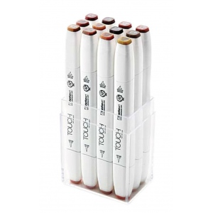 ShinHan Art TOUCH Twin Brush 12-Piece Wood Colors Marker Set: White, Brown, Double-Ended, Alcohol-Based, Refillable, Dual, (model 1211210), price per set