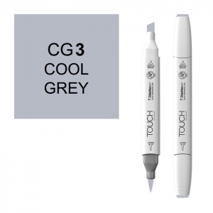ShinHan Art TOUCH Twin Brush Cool Grey 3 Marker; Barrel Color: White; Color: Black/Gray; Double-Ended: Yes; Ink Type: Alcohol-Based; Refillable: Yes; Tip Type: Dual; (model 1212030-CG3), price per each