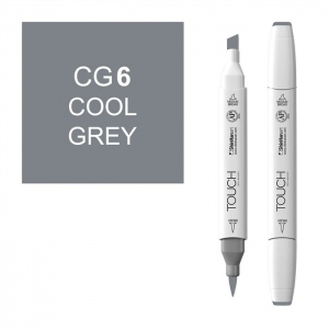 ShinHan Art TOUCH Twin Brush Cool Grey 6 Marker; Barrel Color: White; Color: Black/Gray; Double-Ended: Yes; Ink Type: Alcohol-Based; Refillable: Yes; Tip Type: Dual; (model 1212060-CG6), price per each