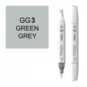 ShinHan Art TOUCH Twin Brush Green Grey 3 Marker; Barrel Color: White; Color: Black/Gray; Double-Ended: Yes; Ink Type: Alcohol-Based; Refillable: Yes; Tip Type: Dual; (model 1213030-GG3), price per each