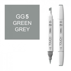 ShinHan Art TOUCH Twin Brush Green Grey 5 Marker: White, Black/Gray, Double-Ended, Alcohol-Based, Refillable, Dual, (model 1213050-GG5), price per each