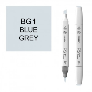 ShinHan Art TOUCH Twin Brush Blue Grey 1 Marker; Barrel Color: White; Color: Black/Gray; Double-Ended: Yes; Ink Type: Alcohol-Based; Refillable: Yes; Tip Type: Dual; (model 1214010-BG1), price per each
