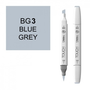ShinHan Art TOUCH Twin Brush Blue Grey 3 Marker; Barrel Color: White; Color: Black/Gray; Double-Ended: Yes; Ink Type: Alcohol-Based; Refillable: Yes; Tip Type: Dual; (model 1214030-BG3), price per each