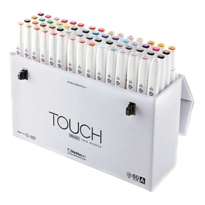 ShinHan Art TOUCH Twin Brush 60-Color Brush & Medium Broad Nib Marker Set A; Barrel Color: White; Double-Ended: Yes; Ink Type: Alcohol-Based; Refillable: Yes; Tip Type: Dual; (model 1216030), price per set
