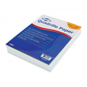 "Alvin® Quadrille Paper 4x4 Grid 500-Sheet Pack 8.5"" x 11"": Pad, 4"" x 4"", 100 Sheets, 8 1/2"" x 11"", 20 lb, (model 1440-1), price per 100 Sheets ream"