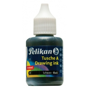 Pelikan Black Drawing Ink: Black/Gray, Bottle, Drawing Ink, 30 ml, Drawing Ink, Waterproof, (model 211862), price per each