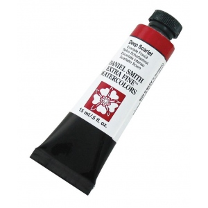 Daniel Smith Extra Fine™ Watercolor 15ml Deep Scarlet; Color: Red/Pink; Format: Tube; Size: 15 ml; Type: Watercolor; (model 284600033), price per tube