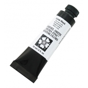 Daniel Smith Extra Fine™ Watercolor 15ml Lunar Black: Black/Gray, Tube, 15 ml, Watercolor, (model 284600049), price per tube