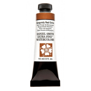 Daniel Smith Extra Fine™ Watercolor 15ml Burgundy Red Ochre; Color: Red/Pink; Format: Tube; Size: 15 ml; Type: Watercolor; (model 284600151), price per tube