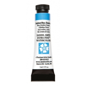 Daniel Smith Extra Fine™ Watercolor 5ml Cerulean Blue Chromium; Color: Blue; Format: Tube; Size: 5 ml; Type: Watercolor; (model 284610021), price per tube