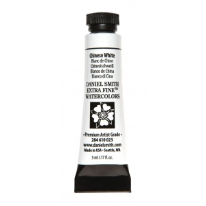 Daniel Smith Extra Fine™ Watercolor 5ml Chinese White; Color: White/Ivory; Format: Tube; Size: 5 ml; Type: Watercolor; (model 284610023), price per tube