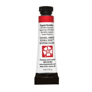 Daniel Smith Extra Fine™ Watercolor 5ml Organic Vermilion; Color: Red/Pink; Format: Tube; Size: 5 ml; Type: Watercolor; (model 284610064), price per tube