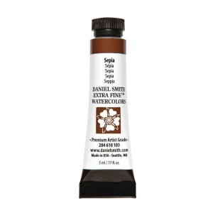 Daniel Smith Extra Fine™ Watercolor 5ml Sepia; Color: Brown; Format: Tube; Size: 5 ml; Type: Watercolor; (model 284610103), price per tube