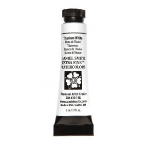 Daniel Smith Extra Fine™ Watercolor 5ml Titanium White; Color: White/Ivory; Format: Tube; Size: 5 ml; Type: Watercolor; (model 284610118), price per tube