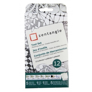 "Pigma® Micron® Zentangle® 3 1/2"" White Original Tile Set; Color: White/Ivory; Quantity: 12 Tiles; Type: Art Kit; (model 50110), price per set"