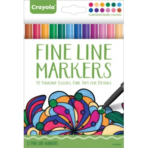 Crayola® Aged Up Fine Line Markers Contemporary Colors 12-Set; Color: Multi; Tip Type: Fine Nib; (model 58-7714), price per each