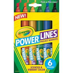 Crayola® PowerLines™ Scented Project Marker 6-Color Set; Tip Type: Chisel Nib; Type: Washable; (model 58-8195), price per set