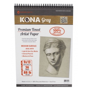 "Hand Book Journal Co.™ Kona Grey Artist Paper 9"" x 12""; Binding: Wire Bound; Color: Black/Gray; Quantity: 36 Sheets; Size: 9"" x 12""; Weight: 88 lb; (model 662912), price per 36 Sheets pad"