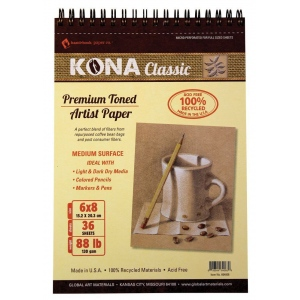 "Hand Book Journal Co.™ Kona Tan Artist Paper 6"" x 8""; Binding: Wire Bound; Color: Brown; Quantity: 36 Sheets; Size: 6"" x 8""; Weight: 88 lb; (model 664068), price per 36 Sheets pad"