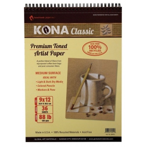 """Hand Book Journal Co.™ Kona Tan Artist Paper 9"""" x 12""""; Binding: Wire Bound; Color: Brown; Quantity: 36 Sheets; Size: 9"""" x 12""""; Weight: 88 lb; (model 664912), price per 36 Sheets pad"""